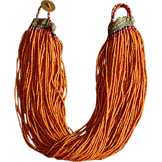 Antique Naga Tribal Mustard Glass Trade Bead Necklace