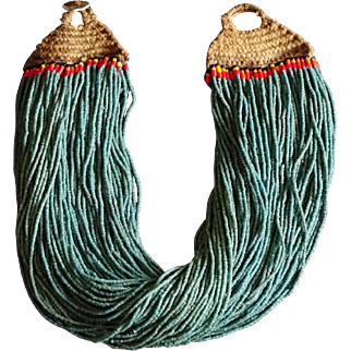 Antique Naga Tribal Turquoise Glass Trade Bead Necklace