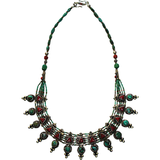 Vintage Stylized Tibetan Silver, Coral & Turquoise Necklace