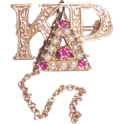 10K Gold Ruby Pearls Kappa Delta Rho Fraternity Pin Fraternal