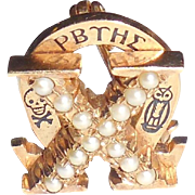 Vintage 10K Gold Pearls Omega Chi Fraternity Pin Fraternal