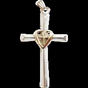 Sterling Silver 10k Gold Earth Heart Love Cross Pendant 2.12 inch tall