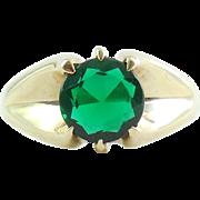 Victorian Antique 10k Gold Belcher Setting Faux Emerald Mens Ring
