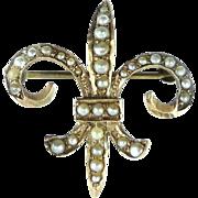 Antique Victorian 10k Gold Fleur De Lis Chatelaine Pocket Watch Pearls Pin Pocketwatch