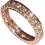 10K Rose Gold Tourmaline Fancy Eternity Ring Band XL
