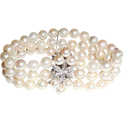 Vintage 14K White Gold Diamond 3 Strand Pearl Bracelet 6mm