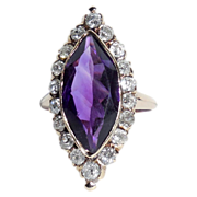 Antique Victorian 14K Gold 4.74 CTS Amethyst and Rose Cut Diamond Long Navette Ring 4.5