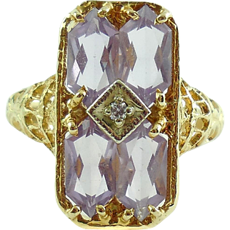 Vintage Filigree 14k Yellow Gold 3CTS Amethyst Diamond Estate Ring Size 7