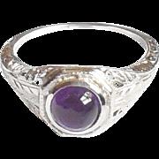 1920s Early Art Deco 14K Gold Fancy Filigree Amethyst Ring