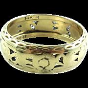 Quarter Inch Wide Art Deco 14K Gold Pierced Cigar Band Ring 7.5