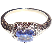 1920s Art Deco 14K White Gold Fancy Filigree Tanzanite Ring 7.5