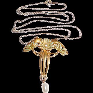 Antique Art Nouveau 14K Gold Enamel Jugendstil Necklace