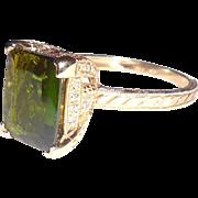 Tall Fancy 14k Gold 4.25 CT Emerald Cut Green Tourmaline Ring 7.25