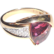 14K Gold Fancy Briolette 2.35 CTS Pink Tourmaline Diamond Ring 9
