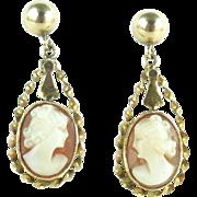 Mid Century 14k Gold Shell Cameo Earrings Pierced Screw Posts