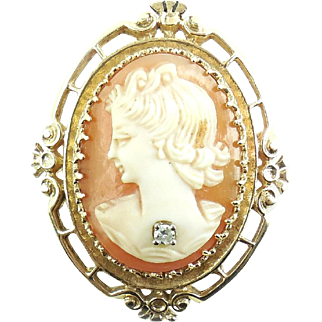 Vintage Victorian Revival Heavy 14k Gold Fancy Shell Cameo Diamond Pendant Pin