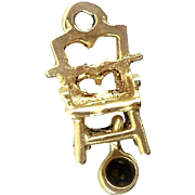 Miniature Moving Vintage Hand Cut 14k Gold Potty Chair Charm