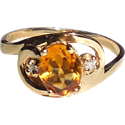 Vintage 14K Yellow Gold Natural Honey Citrine and Diamond Ring Size 7