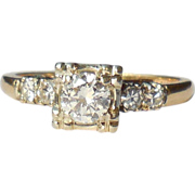 Vintage Art Deco 14K Yellow Gold .56 Diamond Ring Fancy Basket Mount  Size 6.5