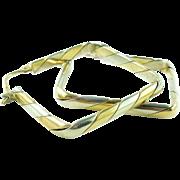 LARGE Italian 14K Yellow Gold 14K White Gold Diamond Shape Hoop Earrings