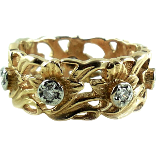 Heavy Vintage 14k Gold Diamond Wide Chunky Cigar Band Ring Size 7.75