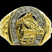 14k Gold Horse and Diamond Horseshoe Mens Ring 9.75