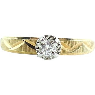 1970s Mid Century 14k Gold Diamond Ring .15CT Size 6