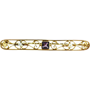 Antique Edwardian 14k Yellow Gold Amethyst Pearls Filigree Pin or Repurpose