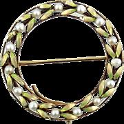 Art Nouveau Jungendstil 14k Gold Pearls Plique A Jour Enamel Pin
