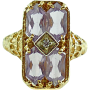 Fancy 14k Gold Elongated Hexagon Cut Amethyst Diamond Ring 7