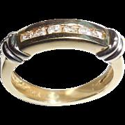 VINTAGE 14K Yellow Gold .25 CT Diamond Ring Band 14K White Gold Wraps Size 6.25