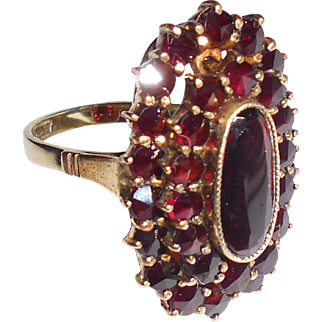 Antique 14K Gold Garnet Ring Early 2 Parts