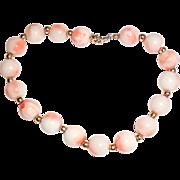 14K Gold 7mm Angelskin Coral Bracelet Size 7 S,M