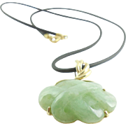 14K Gold Carved Jadeite Jade Pendant Enhancer Necklace Corded