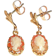 Small Vintage 14K Gold Carved Shell Cameo Dangle Earrings Pierced
