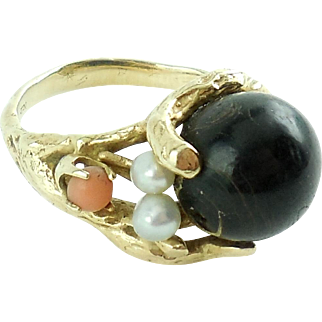 Hand Wrought 14k Gold Angelskin Coral Ebony Pearl Ring 7.5