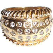 Chunky Heavy 14K Gold Diamond Cigar Band Ring 6.75