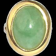 Vintage 14K Yellow Gold Jade Jadeite Nephrite 18m Cabachon Ring Size 6 3/4 6.75