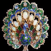 Vintage 14K Gold Opal Emerald Sapphire Enamel Peacock Pendant Pin