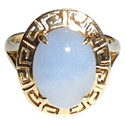 14K Yellow Gold Lavender Jade Cabochon Ring Size 7