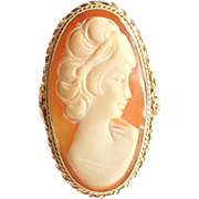 Vintage 14K Gold Shell Cameo Portrait Ring 1.37 Inches Long