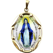 Vintage 14k Gold Enameled Mary Pendant Charm Christian Catholic
