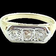 Antique Edwardian 14K Gold Mine Cut Diamond Ring Band 7