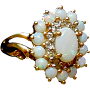 14K Gold Opal Diamond Ring Size 6.5
