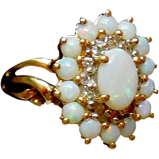 14K Gold Opal Diamond Ring Size 6.5