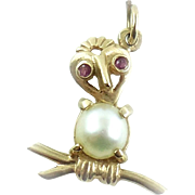 Vintage 14k Gold Ruby And Pearl Stylized Owl on Branch Pendant or Charm