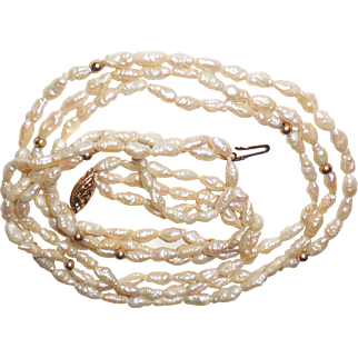 14K Gold Natural Baroque Fresh Rice 3 Strand Pearls Necklace