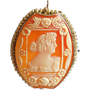 Edwardian Signed 14K Gold Pearl Wrapped Cameo Pendant Pin