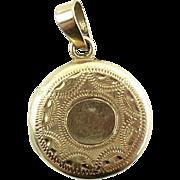 Tiny 14K Gold Etched Locket Pendant Charm