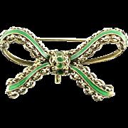 Vintage Mid Century Toliro 14k Gold Enamel Chatelaine Watch Pin Brooch